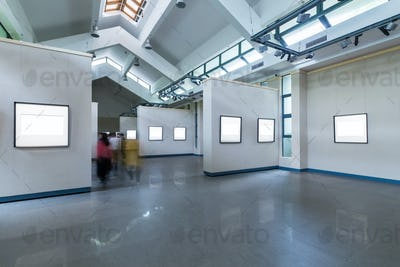 blank frames on exhibition room