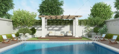Luxury garden with large pool and gazebo on background - 3d renderig