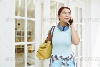 Lovely woman calling on phone