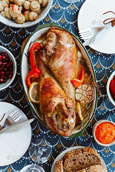Roasted turkey legs with vegetables