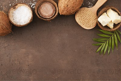 Brown Textured Background with Organic Cosmetics