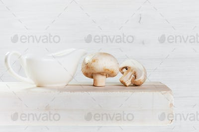 Fresh Mushrooms on the Table