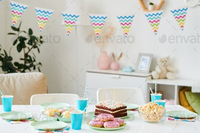Table served for home birthday party for kids