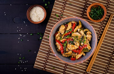 Stir fry chicken, zucchini, sweet peppers and green onion. Top view. Asian cuisine