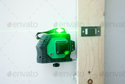 Laser level measuring tool for the installation.
