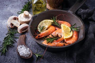 Prawns shrimps in the pan