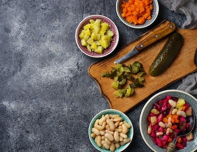 Ingredients for cooking salad vinaigrette
