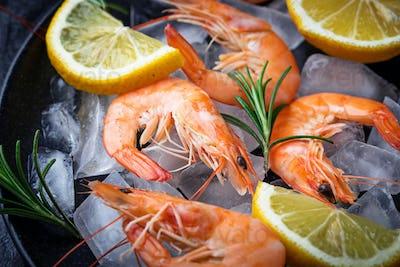 Prawns shrimps with lemon and rosemary.