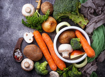 Ingredients for cooking vegetable soup