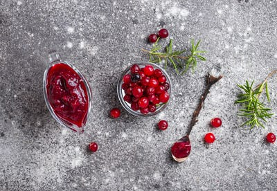 Cranberry sauce with rosemary and fresh berry
