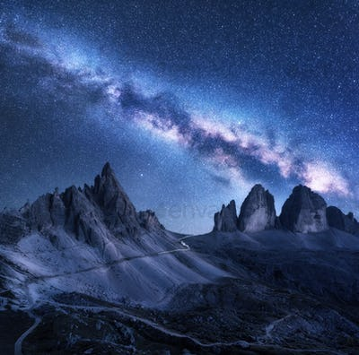 Milky Way over mountains at starry night in summer