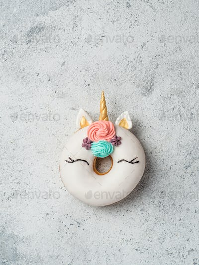 Unicorn donut with copy space