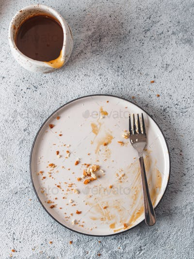 Empty dirty plate, top view