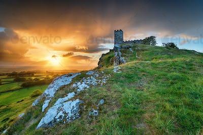 Stormy Sunset over Brentor on Dartmoor
