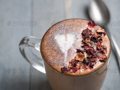 diamond cappuccino coffee with dried rose petals