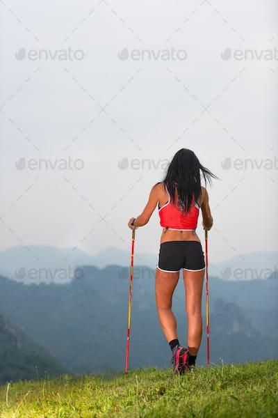 Sporty woman with nice body looks