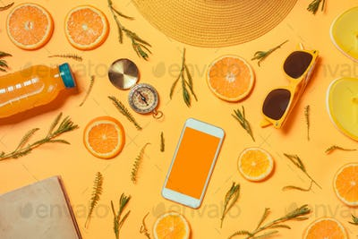 Smartphone mock up with summertime holiday vacation travel acces