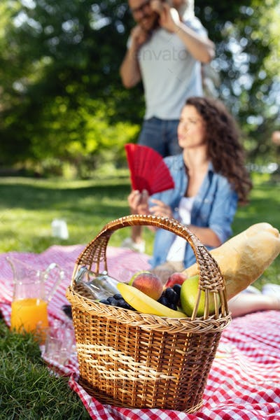 Happy male and female playing and enjoying picnic with children outside