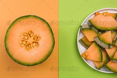 Whole and SLiced Cantaloupe Melon on Pastel Background with Copy