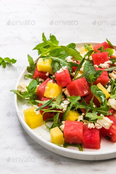 Refreshing Watermelon Salad With Feta Cheese and Arugula