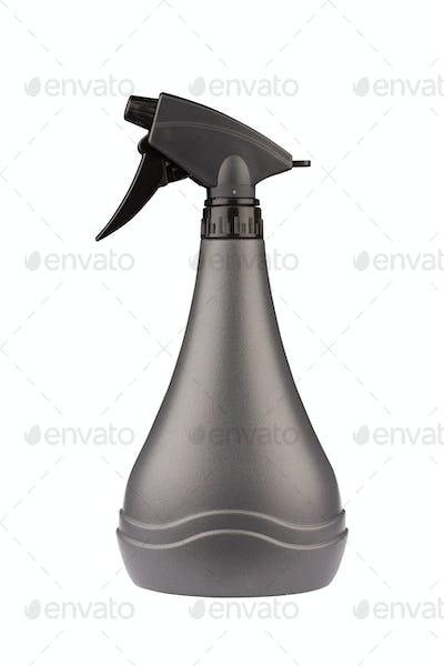 black bottle with dispenser isolated on white