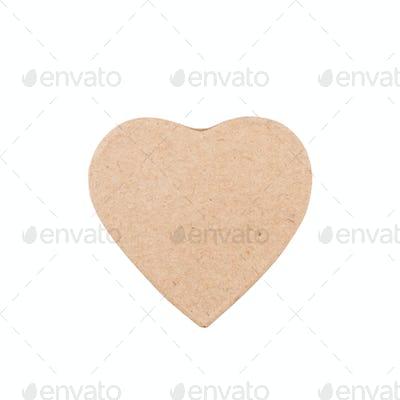cardboard heart shape isolated on white