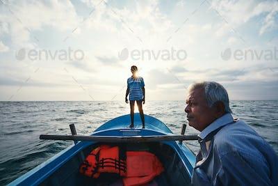 Two fishermen on boat
