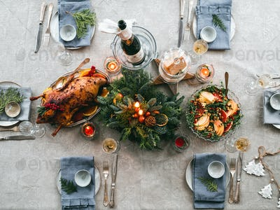 Table setting for Christmas dinner, top view