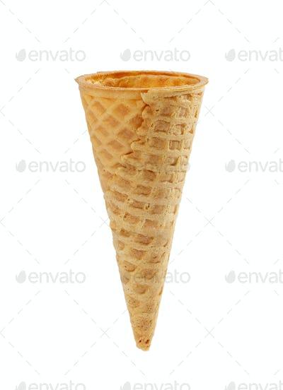 Empty waffle ice cream cone with smooth edge