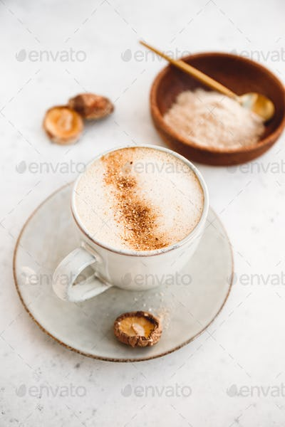 Mushroom latte with shiitake powder