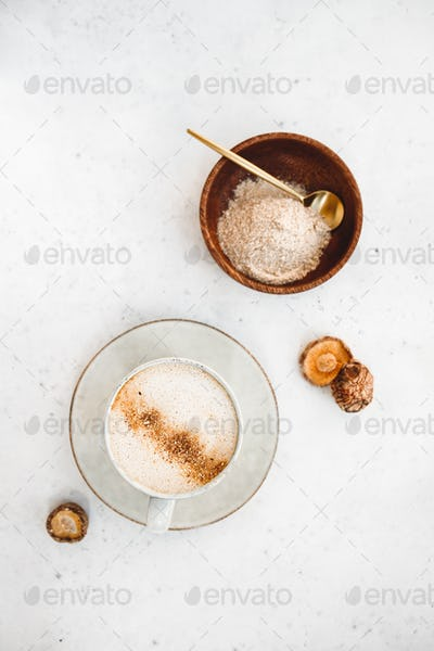 Top view of mushroom latte with shiitake powder