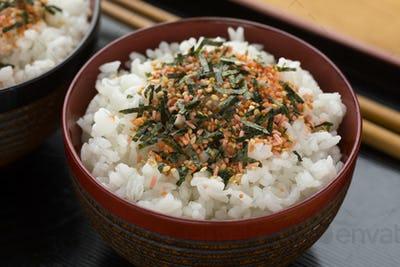 Traditional Japanese bowl with white rice and furikake