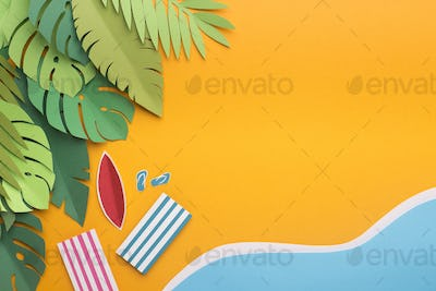 Tropical island with monstera leaves and beach near the sea