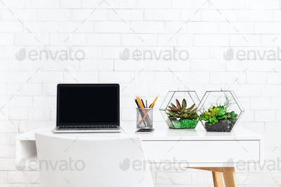 Modern home working place with laptop, and house plants at white brick wall background
