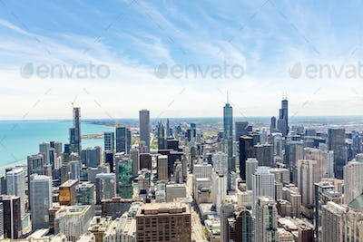 Chicago city skyscrapers aerial view, blue sky background. Skydeck observation