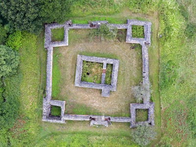 Aerial view of Gurre castle ruins located on Zealand in Denmark