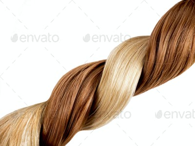 Blond and red hair braid