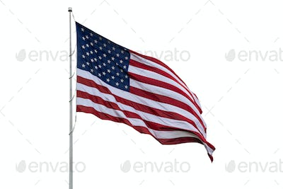 United States flag on a pole waving isolated on white background.