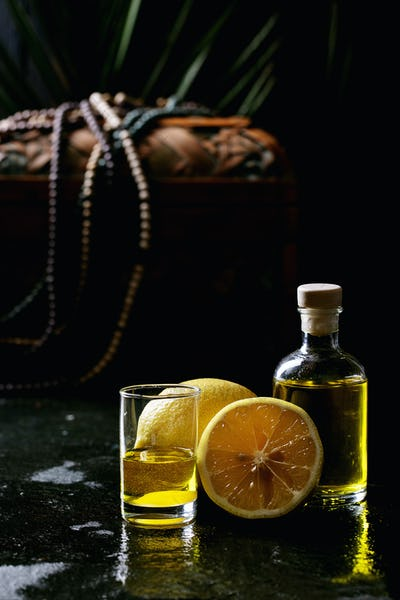Limoncello in glass bottle