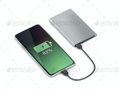 Charging the smartphone with a power bank