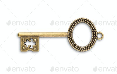 Vintage golden skeleton key isolated on white background