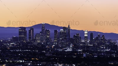 Downtown Los Angeles skyline at sunrise