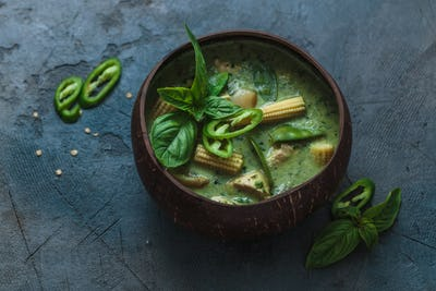 Thai chicken green curry on dark background, copy space