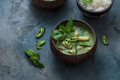 Green curry with chicken or Kang keaw wan gai, thai cuisine