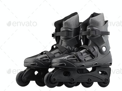 Roller Skates Black and grey isolated on white