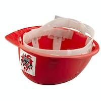 Red plastic safety  fireman helmet on white background