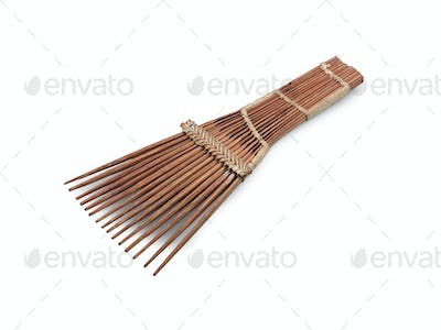 African-style hairbrush isolated on white