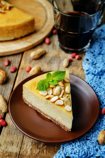 Peanut butter cheesecake with peanuts