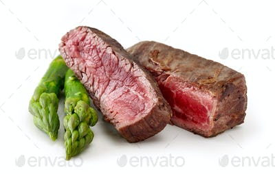 beef wagyu steak meat with asparagus isolated on wight background