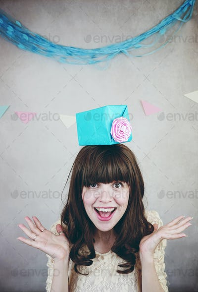 Young woman celebrating a birthday party